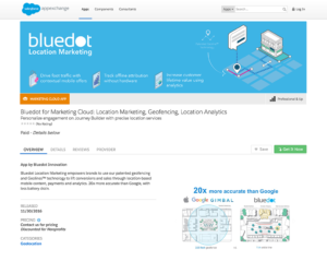 bluedot location marketing salesforce app exchange